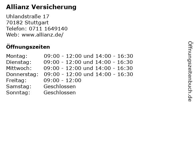 Allianz Versicherung in Stuttgart: Adresse und Öffnungszeiten