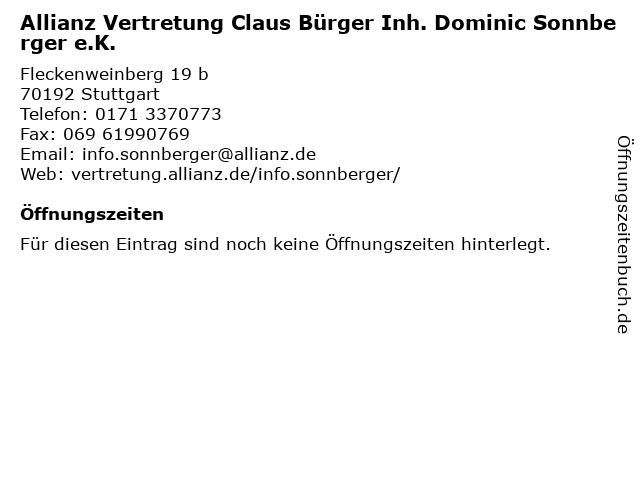 Allianz Vertretung Claus Bürger Inh. Dominic Sonnberger e.K. in Stuttgart: Adresse und Öffnungszeiten
