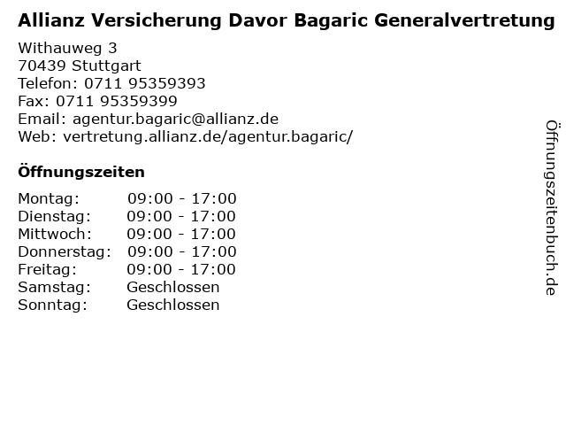 Allianz Vertretung Davor Bagaric in Stuttgart: Adresse und Öffnungszeiten
