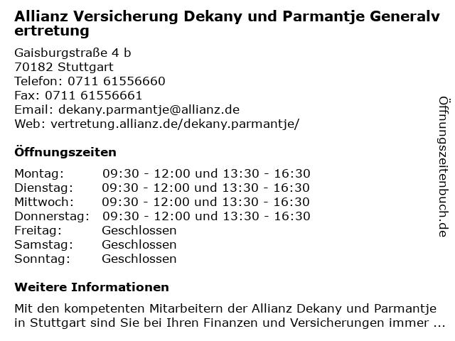 Allianz Vertretung Dekany und Parmantje in Stuttgart: Adresse und Öffnungszeiten