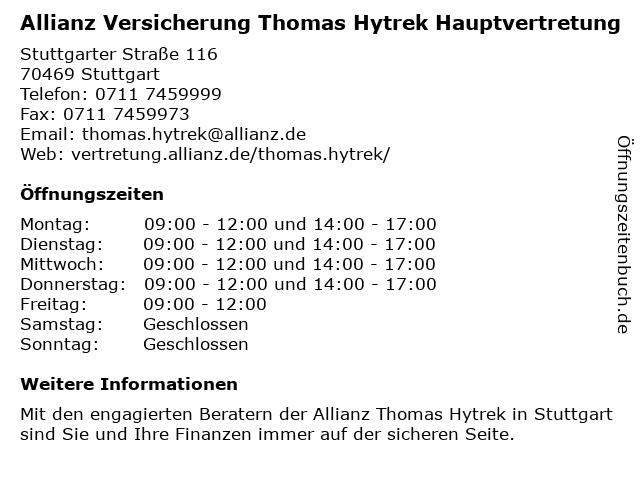 Allianz Vertretung Thomas Hytrek in Stuttgart: Adresse und Öffnungszeiten