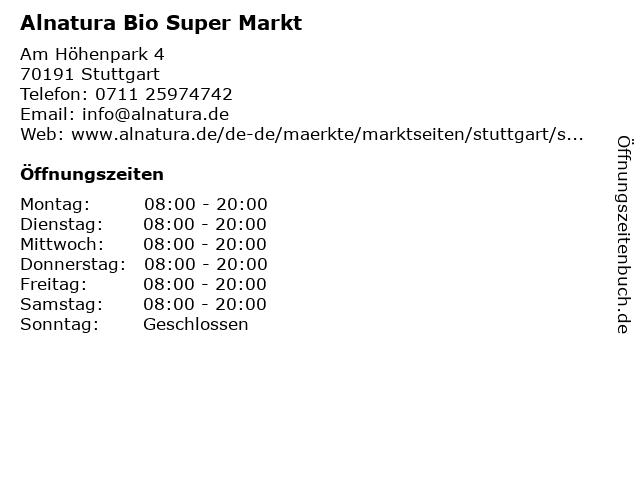 Alnatura Super Natur Markt in Stuttgart: Adresse und Öffnungszeiten