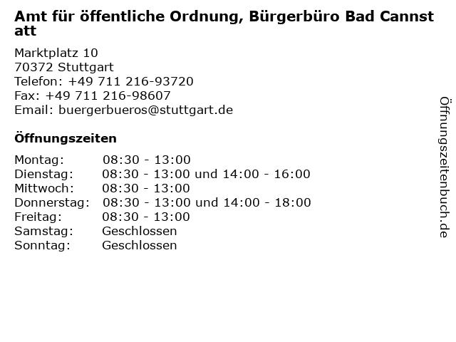 Amt für öffentliche Ordnung, Bürgerbüro Bad Cannstatt in Stuttgart: Adresse und Öffnungszeiten