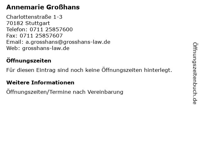 Annemarie Großhans in Stuttgart: Adresse und Öffnungszeiten