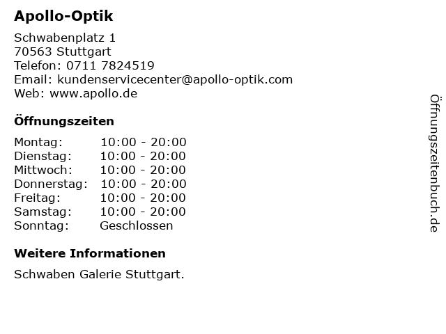 Apollo-Optik in Stuttgart: Adresse und Öffnungszeiten