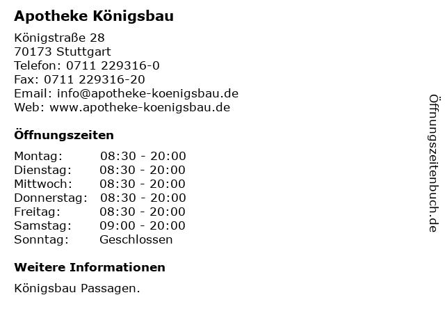 Apotheke Königsbau in Stuttgart: Adresse und Öffnungszeiten
