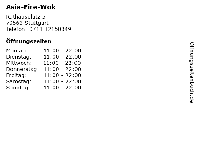Asia-Fire-Wok in Stuttgart: Adresse und Öffnungszeiten