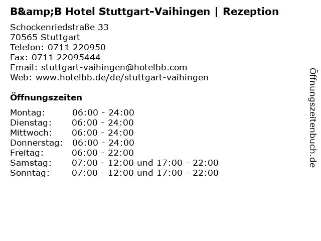 B&B Hotel Stuttgart-Vaihingen   Rezeption in Stuttgart: Adresse und Öffnungszeiten