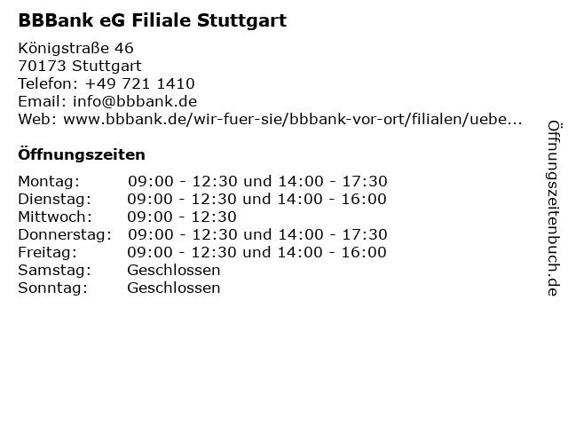 ᐅ öffnungszeiten Bbbank Eg Filiale Stuttgart Königstraße 46 In