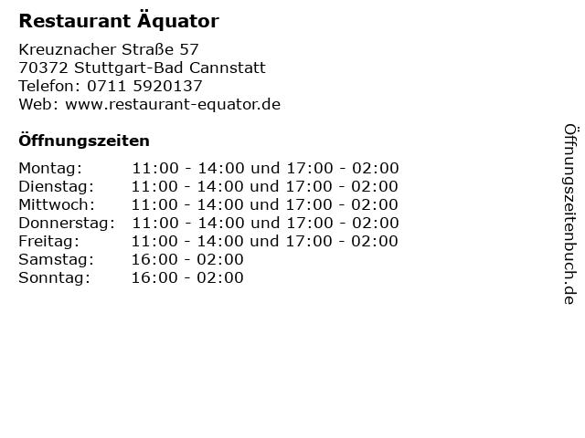 Restaurant Äquator in Stuttgart-Bad Cannstatt: Adresse und Öffnungszeiten