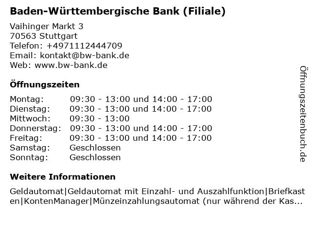 BW Bank Baden-Württembergische Bank in Stuttgart: Adresse und Öffnungszeiten
