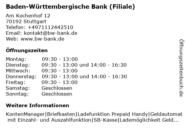 ᐅ öffnungszeiten Bw Bank Baden Württembergische Bank Am