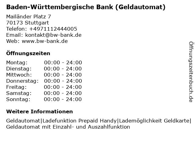 BW Bank - Baden-Württembergische Bank (Geldautomat) in Stuttgart: Adresse und Öffnungszeiten
