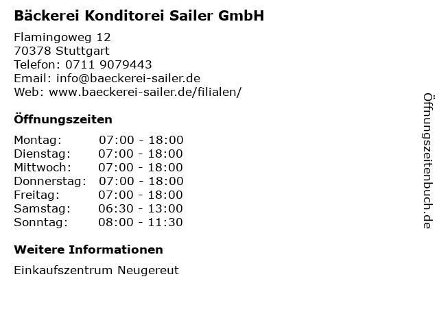 Bäckerei Konditorei Sailer GmbH in Stuttgart: Adresse und Öffnungszeiten