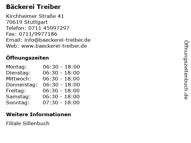 Bäckerei Treiber in Stuttgart: Adresse und Öffnungszeiten