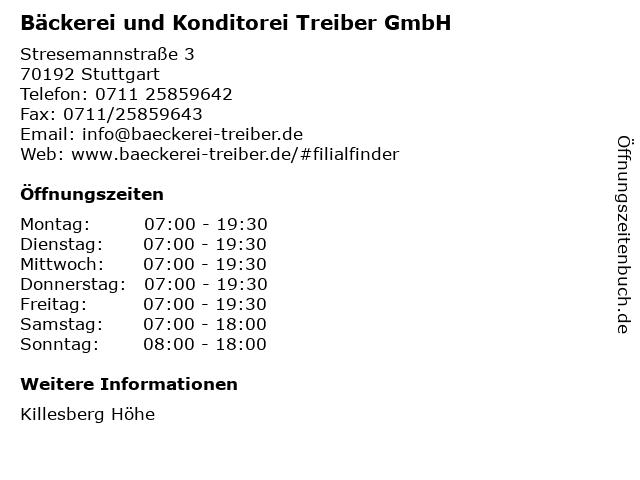 Bäckerei und Konditorei Treiber GmbH in Stuttgart: Adresse und Öffnungszeiten