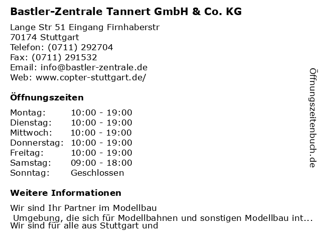 Bastler-Zentrale Tannert GmbH & Co. KG in Stuttgart: Adresse und Öffnungszeiten