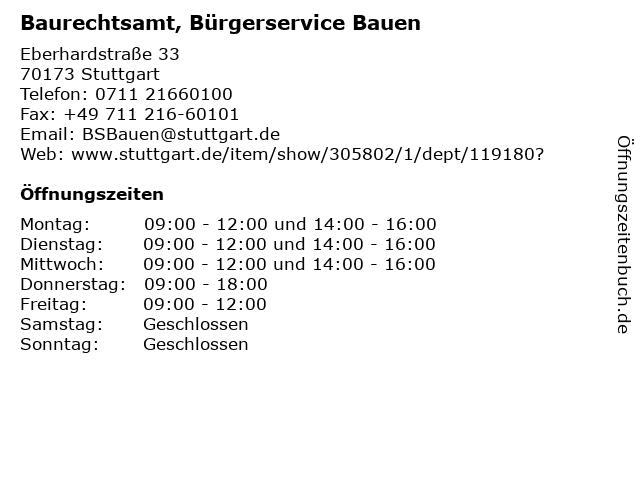 Baurechtsamt, Bürgerservice Bauen in Stuttgart: Adresse und Öffnungszeiten