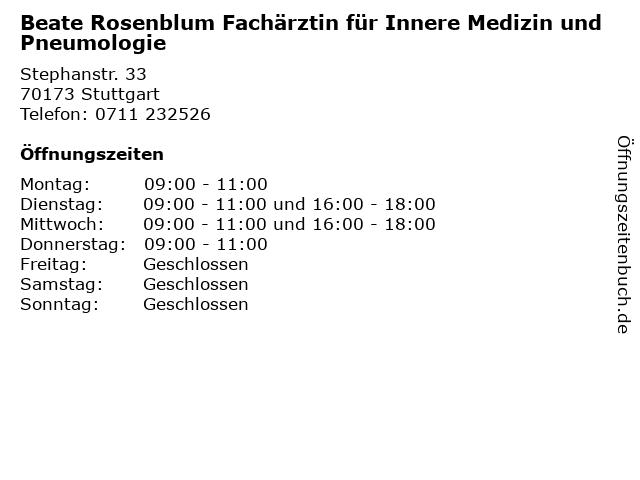 Beate Rosenblum Fachärztin für Innere Medizin und Pneumologie in Stuttgart: Adresse und Öffnungszeiten
