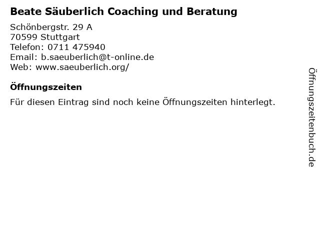 Beate Säuberlich Coaching und Beratung in Stuttgart: Adresse und Öffnungszeiten