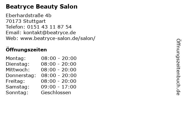 Beatryce Beauty Salon in Stuttgart: Adresse und Öffnungszeiten