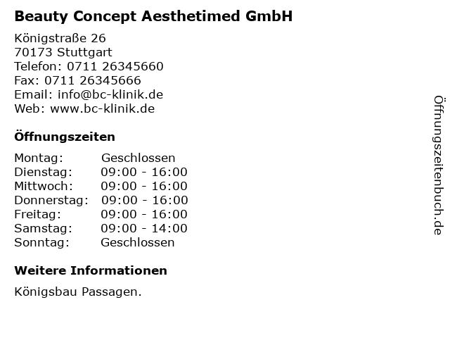 Beauty Concept Aesthetimed GmbH in Stuttgart: Adresse und Öffnungszeiten
