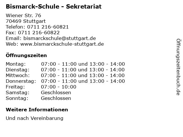 Bismarck-Schule - Sekretariat in Stuttgart: Adresse und Öffnungszeiten