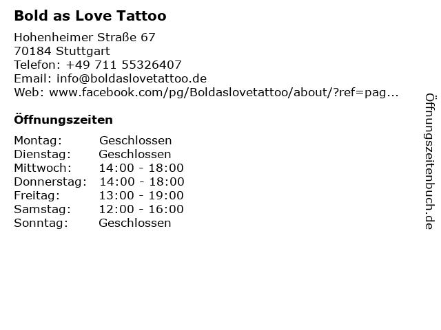 Bold as Love Tattoo in Stuttgart: Adresse und Öffnungszeiten