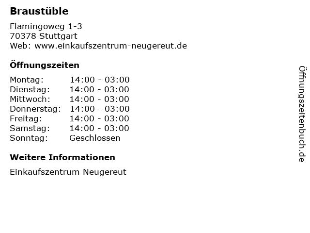 Braustüble in Stuttgart: Adresse und Öffnungszeiten