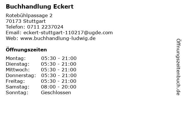 Buchhandlung Eckert in Stuttgart: Adresse und Öffnungszeiten