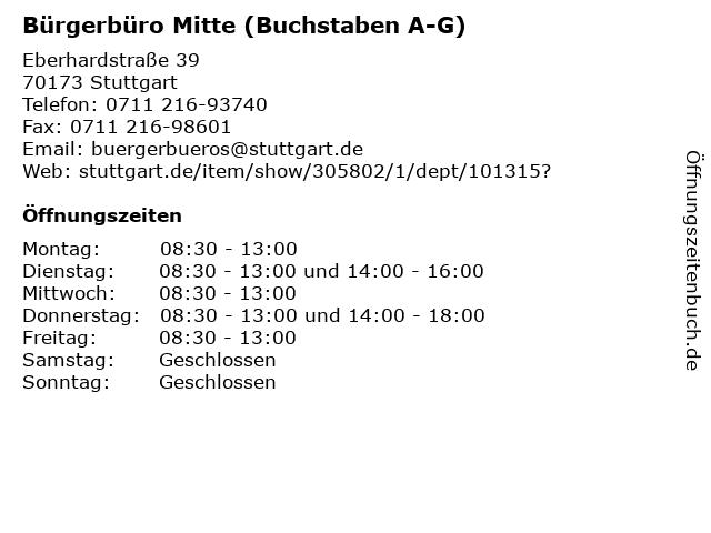 Bürgerbüro Mitte (Buchstaben A-G) in Stuttgart: Adresse und Öffnungszeiten