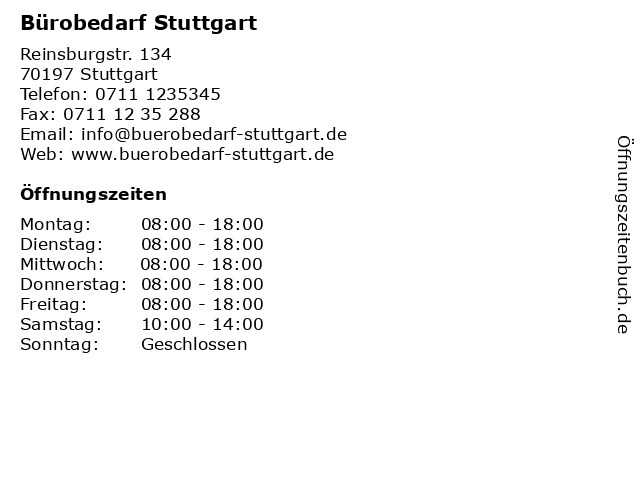 ᐅ Offnungszeiten Burobedarf Stuttgart Reinsburgstr 134 In