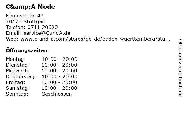C&A Mode GmbH & Co. KG in Stuttgart: Adresse und Öffnungszeiten