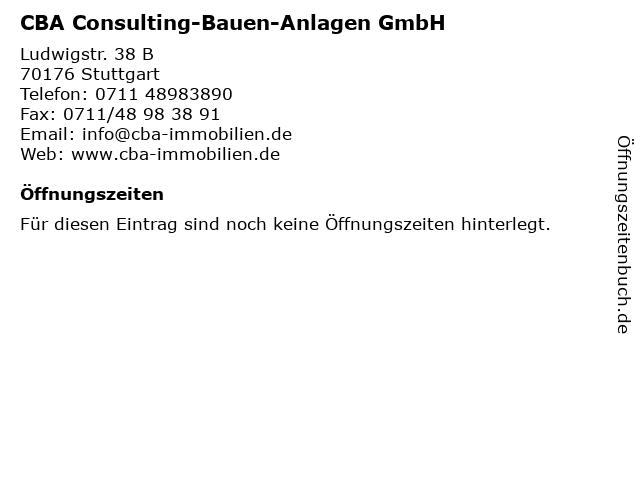 CBA Consulting-Bauen-Anlagen GmbH in Stuttgart: Adresse und Öffnungszeiten