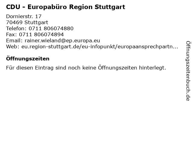 CDU - Europabüro Region Stuttgart in Stuttgart: Adresse und Öffnungszeiten
