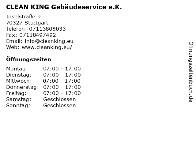 CLEAN KING Gebäudeservice e.K. in Stuttgart: Adresse und Öffnungszeiten