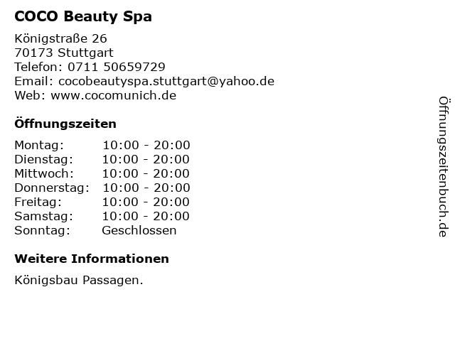 COCO Beauty Spa in Stuttgart: Adresse und Öffnungszeiten