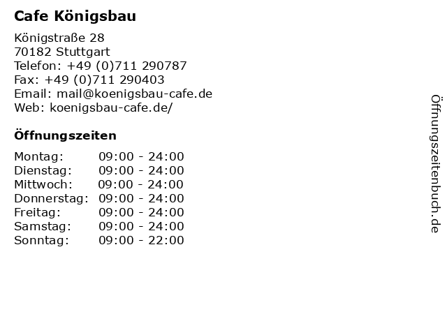 Cafe Königsbau in Stuttgart: Adresse und Öffnungszeiten