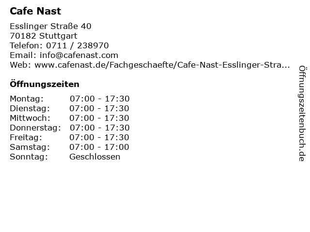 Cafe Nast in Stuttgart: Adresse und Öffnungszeiten