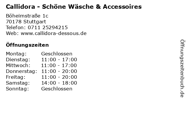 Callidora - Schöne Wäsche & Accessoires in Stuttgart: Adresse und Öffnungszeiten