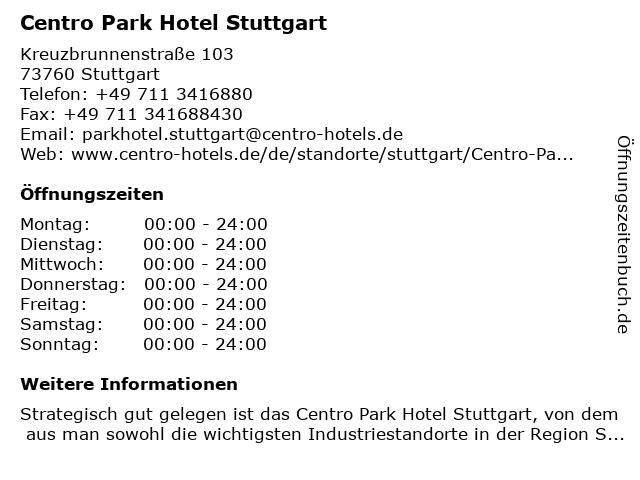Centro Park Hotel Stuttgart in Stuttgart: Adresse und Öffnungszeiten