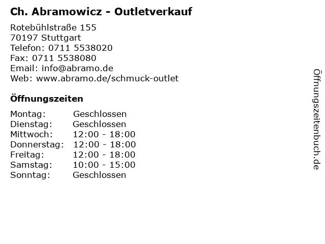 Ch. Abramowicz - Outletverkauf in Stuttgart: Adresse und Öffnungszeiten