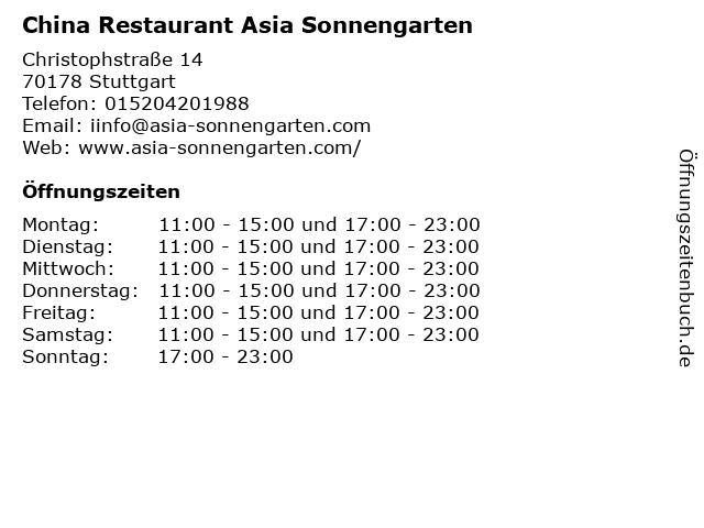China Restaurant Asia Sonnengarten in Stuttgart: Adresse und Öffnungszeiten