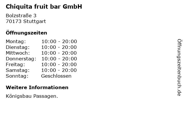 Chiquita fruit bar GmbH in Stuttgart: Adresse und Öffnungszeiten