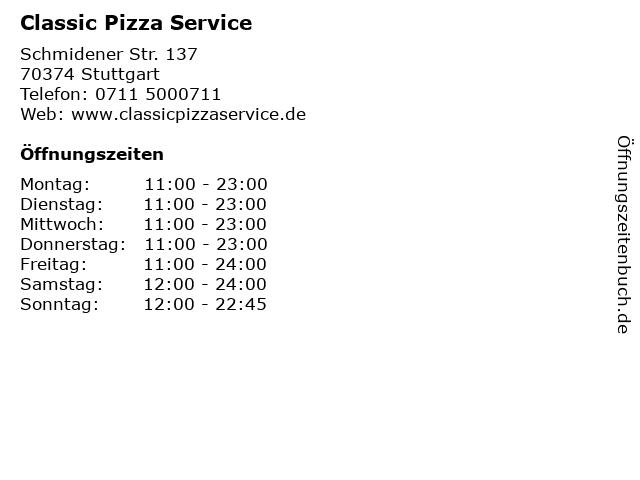 Classic Pizza Service in Stuttgart: Adresse und Öffnungszeiten