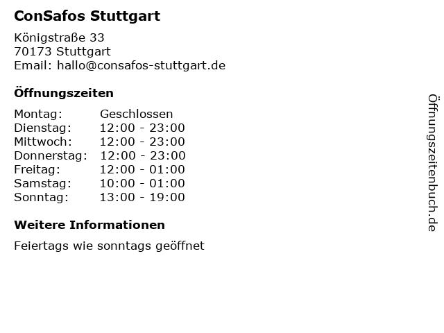 ConSafos Stuttgart in Stuttgart: Adresse und Öffnungszeiten