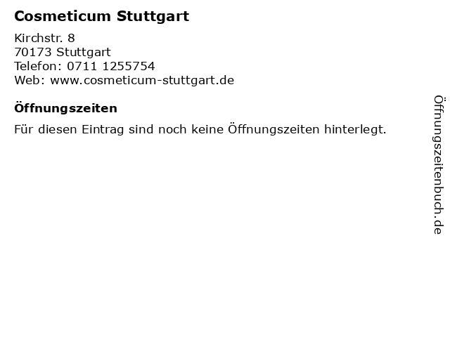 Cosmeticum Stuttgart in Stuttgart: Adresse und Öffnungszeiten
