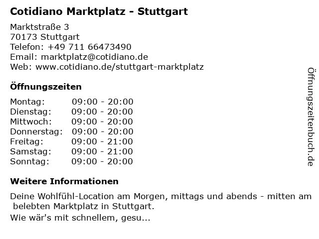 Cotidiano Stuttgart-Marktplatz in Stuttgart: Adresse und Öffnungszeiten