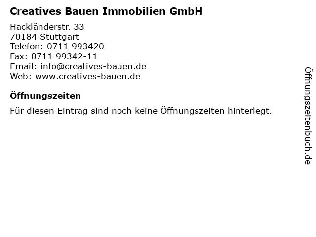 Creatives Bauen Immobilien GmbH Immobilienhandel in Stuttgart: Adresse und Öffnungszeiten