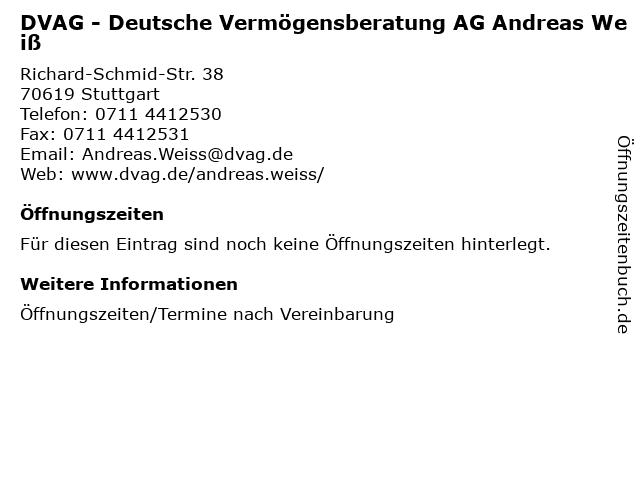 DVAG - Deutsche Vermögensberatung AG Andreas Weiß in Stuttgart: Adresse und Öffnungszeiten